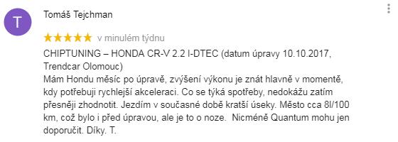 Chiptuning recenze Tomáš Tejchman - Honda Olomouc