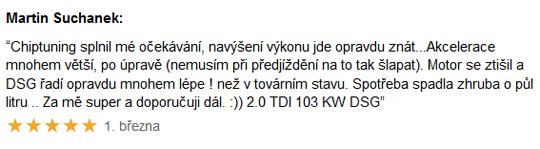 Chiptuning recenze Martin Suchánek 2.0TDi DSG