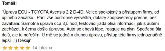 Chiptuning recenze Tomáš - Toyota Avensis D-4D
